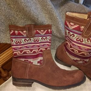 NATURALIZER SOUTHWEST BROWN SUEDE ANKLE BOOTS SZ 8